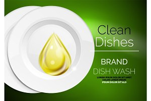 Vector kitchen dish wash drop on ceramic plate. Soap for plates ads templates