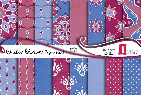 Winter Blossoms Digital Paper Pack