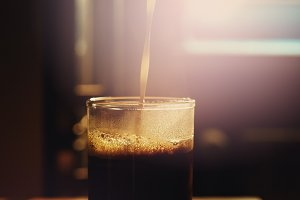 Transparent glass with hot coffee