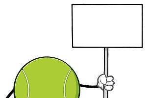 Tennis Ball Holding A Blank Sign