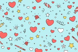 Seamless pattern with hearts for Valentine Day