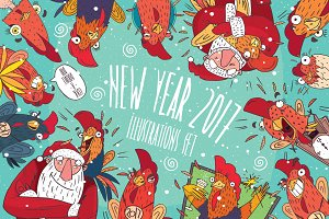 2017 New Year Illustration Set