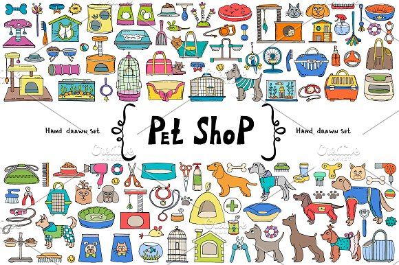 Vector Set With Pet Shop Doodles