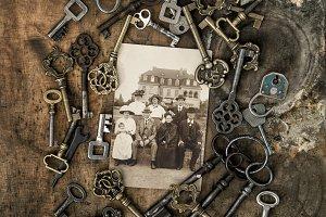 Vintage photo family portrait