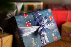 Christmas presents, gift box close up photo