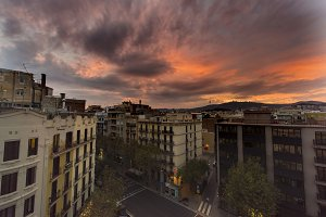 Rooftop Sunset in Barcelona Spain