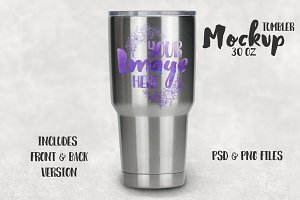 Stainless steel tumbler mockup 30 oz