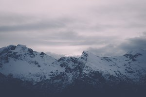Snowy Mountains in Vintage Colors
