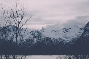 Snowy Winter Mountains Vintage Color