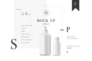 Cosmetic vector mockup bottle