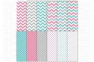 12Chevron Polka Dots Digital Paper