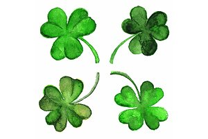 Watercolor vector green clover shamrock set isolated