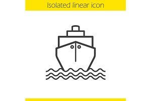 Cruise ship with waves icon. Vector