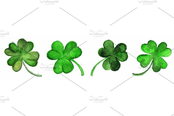 Watercolor Vector Clover Shamrock Border Set Isolated
