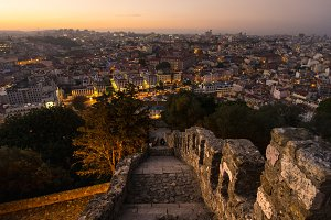 Lisbon Portugal Cityscape Sunset