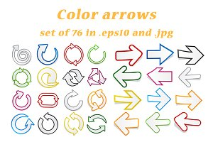 Set of colored arrows: 76 pcs.