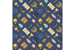 Jew icons vector seamless pattern.