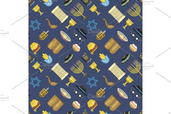 Jew Icons Vector Seamless Pattern