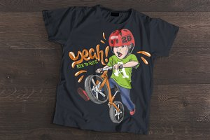 Cool kid on strider bike, t-shirt