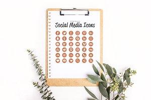 36 Cooper Glitter Social Media Icons