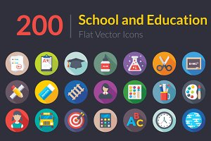 200 Flat School and Education Icons
