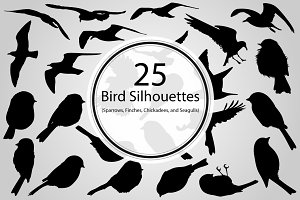 25 Bird Silhouettes (Vector)