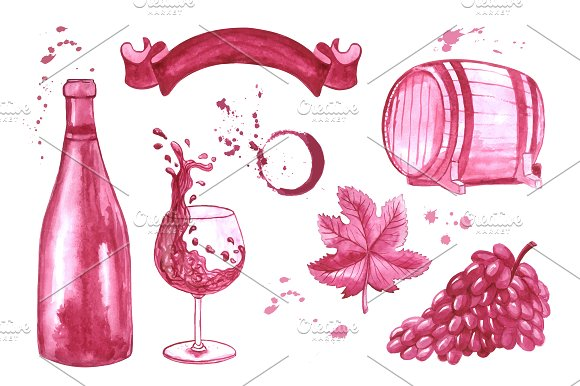 Watercolor Wine Elements Set