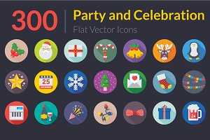 300 Flat Party and Celebration Icons