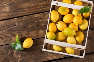 Lemons in wooden box