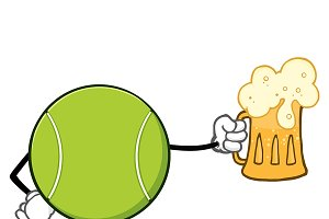 Tennis Ball Faceless Holding A Beer