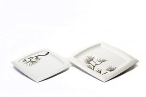 Dishes on white background