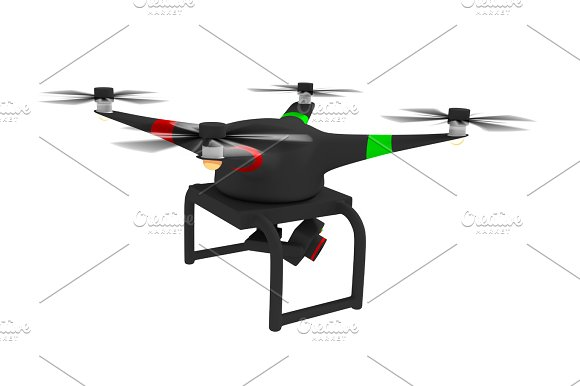 Quadcopter In Black Isolated
