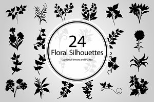 24 Floral Silhouettes (Vector)