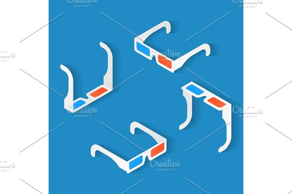 Isometric Icon Set Of Anaglyph 3D Glasses For Watching Movie To