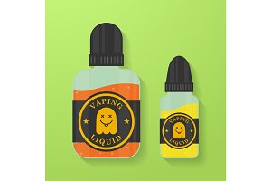 Icon of Vape liquid or juice with ghost silhouette. Electronic cigarette e-liquid bottles. Vector Vaping symbol.