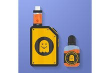 Icon of Vape device with ghost silhouette. Electronic cigarette with e-liquid bottle. Vector Vaping symbol. Box mod with Rebuildable tank atomizer, clearomizer, cartomizer.