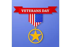 Golden award with veterans day text on banner.