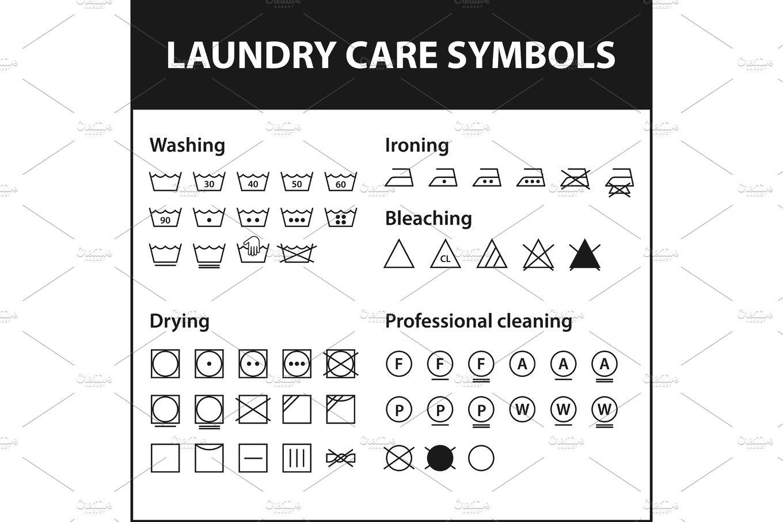 Icon set of laundry symbols washing instruction symbols cloth icon set of laundry symbols washing instruction symbols cloth textile care signs collection illustrations creative market biocorpaavc Gallery