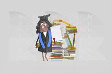 Graduate girl with diploma paper