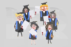 Graduate students with diplomas