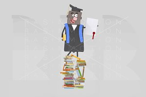 Graduate balck boy and books