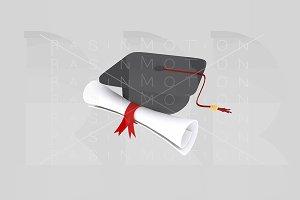 Graduate hat and diploma paper