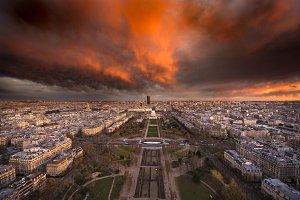 Paris France City Sunset