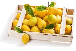 Fresh lemons in a box.