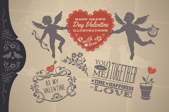 Vintage Day Valentine Fine Vectors