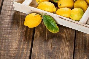 Box with lemons