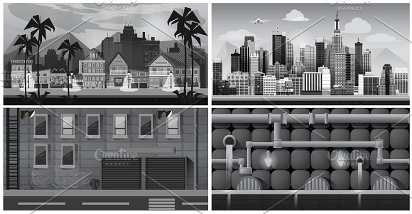 Black And White City Background