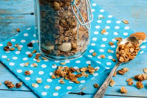Granola with nuts in jar