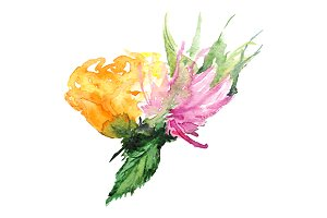 Watercolor floral boutonniere art