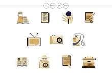 Media publishing flat color icons